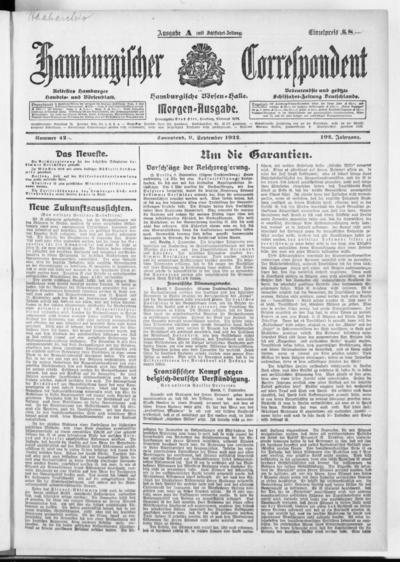 Börsen-Halle / ab 1905: Hamburgischer Correspondent und neue hamburgische Börsen-Halle - 1922-09-09