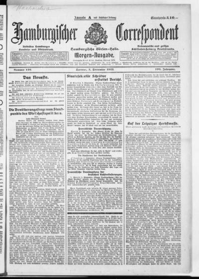 Börsen-Halle / ab 1905: Hamburgischer Correspondent und neue hamburgische Börsen-Halle - 1922-09-03