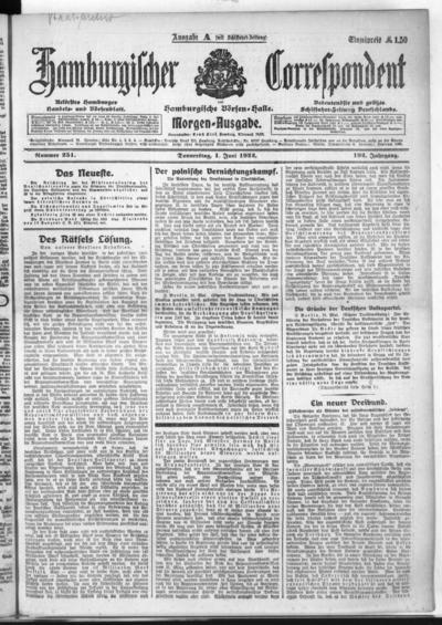 Börsen-Halle / ab 1905: Hamburgischer Correspondent und neue hamburgische Börsen-Halle - 1922-06-01