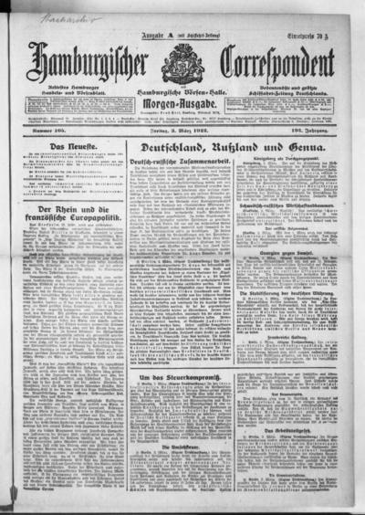 Börsen-Halle / ab 1905: Hamburgischer Correspondent und neue hamburgische Börsen-Halle - 1922-03-03