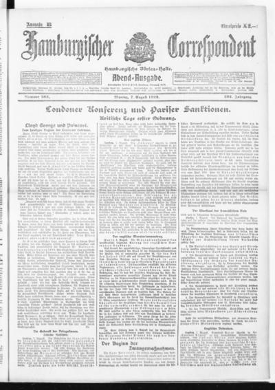 Börsen-Halle / ab 1905: Hamburgischer Correspondent und neue hamburgische Börsen-Halle - 1922-08-07
