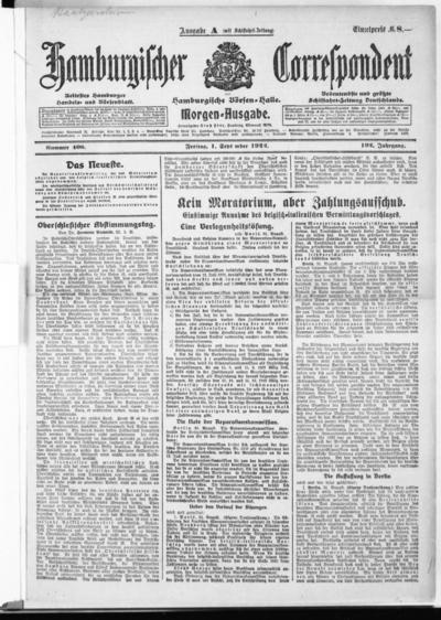 Börsen-Halle / ab 1905: Hamburgischer Correspondent und neue hamburgische Börsen-Halle - 1922-09-01