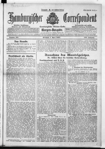 Börsen-Halle / ab 1905: Hamburgischer Correspondent und neue hamburgische Börsen-Halle - 1922-04-05