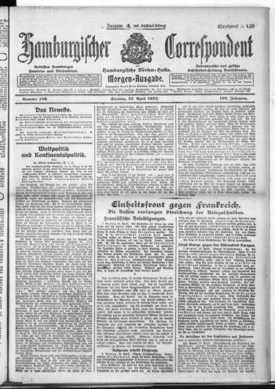 Börsen-Halle / ab 1905: Hamburgischer Correspondent und neue hamburgische Börsen-Halle - 1922-04-23