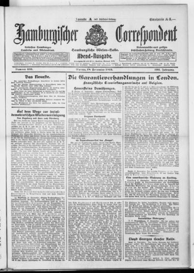 Börsen-Halle / ab 1905: Hamburgischer Correspondent und neue hamburgische Börsen-Halle - 1922-09-18