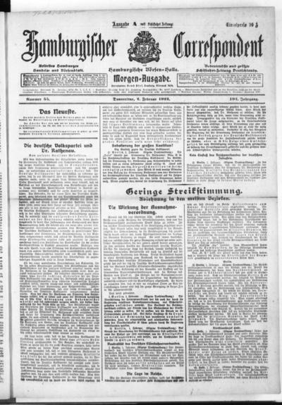 Börsen-Halle / ab 1905: Hamburgischer Correspondent und neue hamburgische Börsen-Halle - 1922-02-02