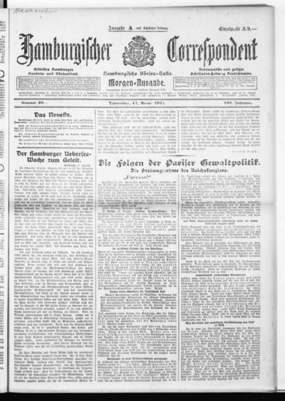 Börsen-Halle / ab 1905: Hamburgischer Correspondent und neue hamburgische Börsen-Halle - 1922-08-17