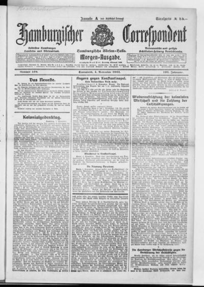 Börsen-Halle / ab 1905: Hamburgischer Correspondent und neue hamburgische Börsen-Halle - 1922-11-04