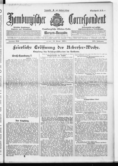 Börsen-Halle / ab 1905: Hamburgischer Correspondent und neue hamburgische Börsen-Halle - 1922-08-18