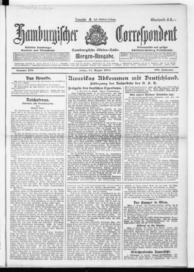 Börsen-Halle / ab 1905: Hamburgischer Correspondent und neue hamburgische Börsen-Halle - 1922-08-11