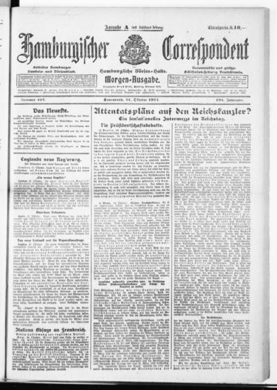 Börsen-Halle / ab 1905: Hamburgischer Correspondent und neue hamburgische Börsen-Halle - 1922-10-21
