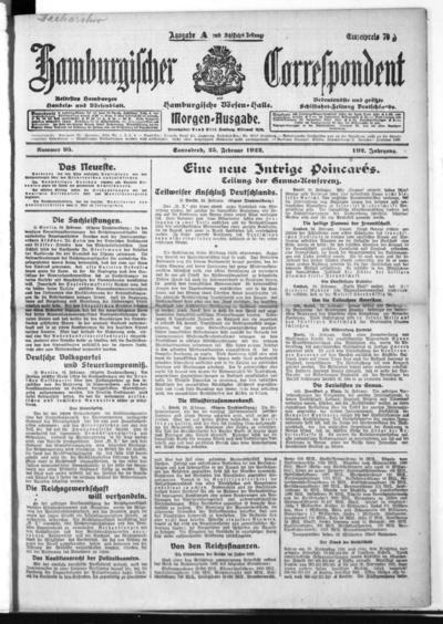 Börsen-Halle / ab 1905: Hamburgischer Correspondent und neue hamburgische Börsen-Halle - 1922-02-25
