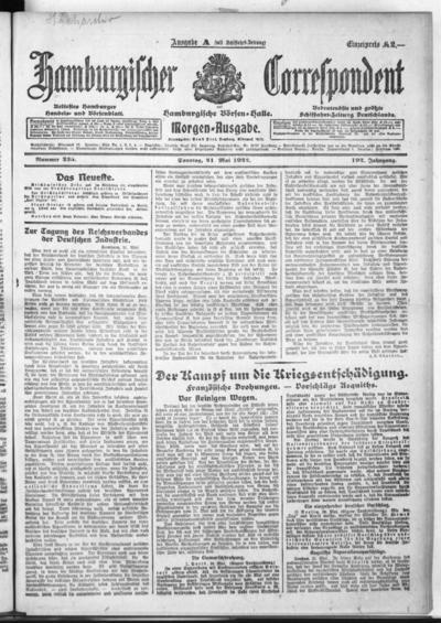 Börsen-Halle / ab 1905: Hamburgischer Correspondent und neue hamburgische Börsen-Halle - 1922-05-21