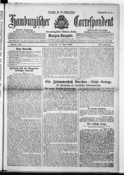 Börsen-Halle / ab 1905: Hamburgischer Correspondent und neue hamburgische Börsen-Halle - 1922-04-13