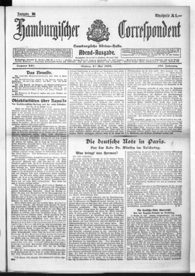 Börsen-Halle / ab 1905: Hamburgischer Correspondent und neue hamburgische Börsen-Halle - 1922-05-29