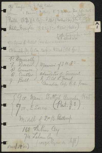 List of soldiers and diary of Fr. Francis A. Gleeson 10 - 11 November 1917