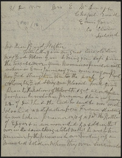 Ellen MacDonagh writing to Fr. Gleeson about her son Joachim MacDonagh