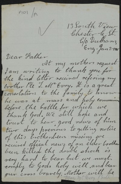Mary McEvoy writing to Fr. Gleeson about her brother Private J. McEvoy