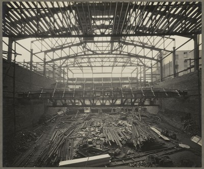Savoy Cinema site works : internal view showing balcony and roof steelworks