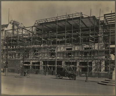Savoy Cinema site works : oblique view of front façade