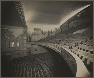 Savoy Cinema post completion : view of the auditorium along balcony edge
