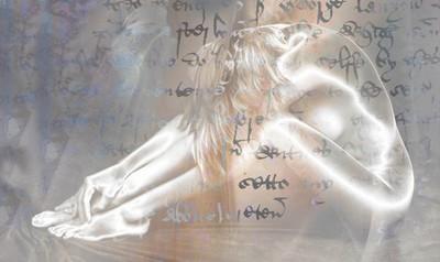 Body shapes, female, overlaid with writing