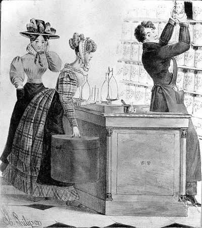 A young male apothecary serving and flirting with two young women in his shop. Coloured lithograph by C. Philipon, 18--.