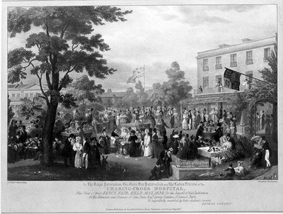 Garden of John Penn, St James's Park: A charity fair for Charing Cross Hospital. Coloured lithograph by G. Scharf, 1830.