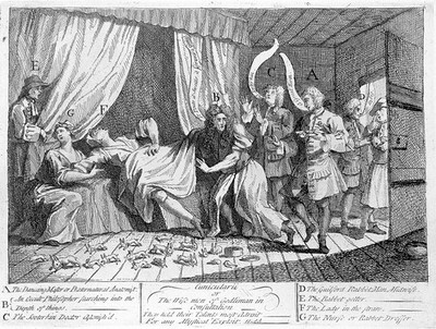 Mary Tofts duping several distinguished surgeons, physicians and male-midwives into believing that she is giving birth to a litter of rabbits. Etching by W. Hogarth, 1726.