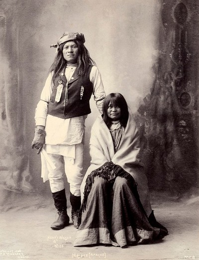 Henry Wilson and his wife, Americans of the Mohave. Platinum