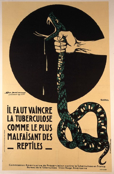 The strangling of a poisonous snake, representing the crushing of tuberculosis. Colour lithograph after G. Dorival and G. Capon, ca. 1918.