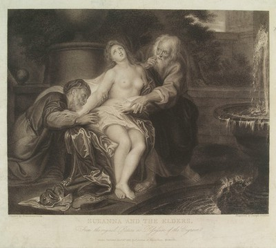 Susanna molested by the elders. Stipple engraving by J. Jenkins, 1823, after P.F. Mola.