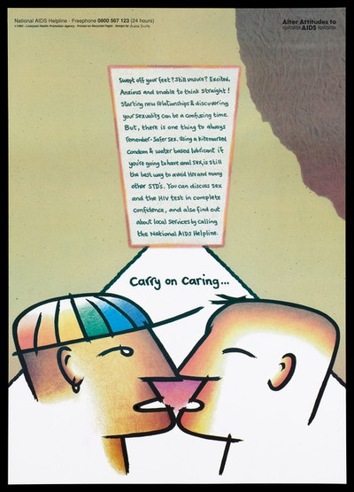 Two graphic male faces in act of kissing, with text on risks of starting new relationships; an advertisement for the National Aids Helpline by the Liverpool Health Promotion Agency. Colour lithograph, 1994