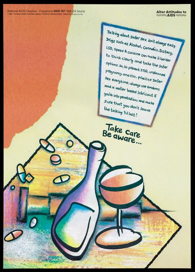A bottle and a glass with drugs on a table; an advertisement for the National Aids Helpline by the Liverpool Health Promotion Unit. Colour lithograph, 1994