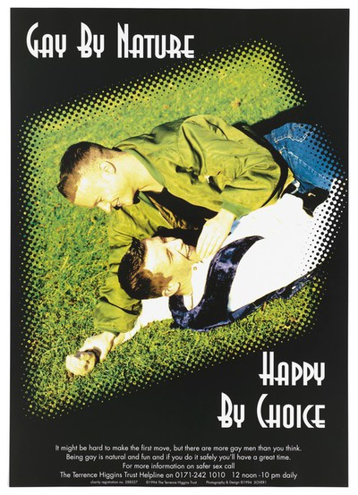 One man lies on top of another lying on grass in an image pixelated at the edge; an advertisement for the Terrence Higgins Trust helpline for advice about AIDS. Colour lithograph, 1994
