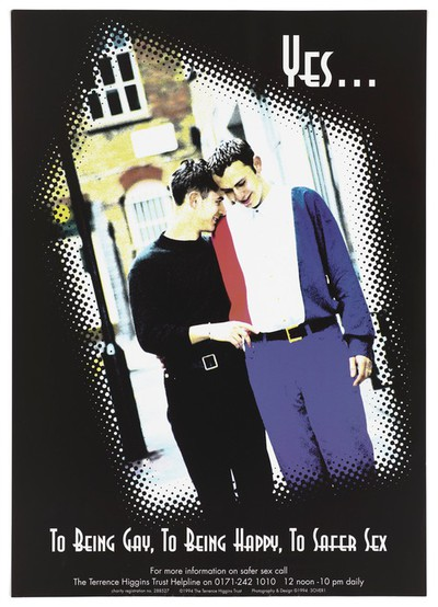 Two men walk down a street with heads together in an image pixelated at the edge; an advertisement for the Terrence Higgins Trust helpline for advice about safe sex in AIDS prevention. Colour lithograph, 1994