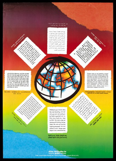 A world globe is surrounded by eight blocks of text in different languages; an advertisement for the National Aids Helpline by the Liverpool Health Promotion Unit. Colour lithograph, 1992