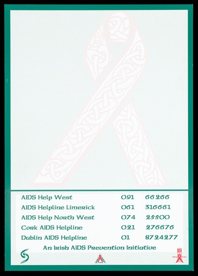 A pale pink ribbon decorated with a celtic scroll with a list of Aids helplines; advertisement by the Red Ribbon Project as part of an Irish Aids Prevention Initiative for World Aids Day. Colour lithograph.