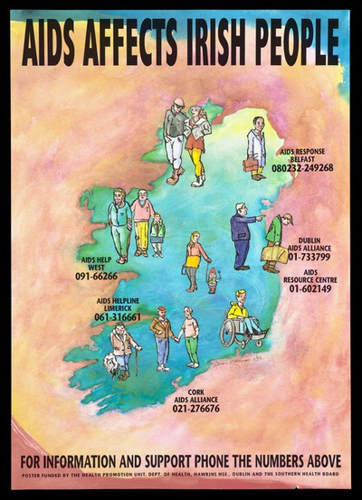 A map of Ireland with figures and Aids helpline numbers; advertisement by the Southern Health Board. Colour lithograph by Kieran O'Connor, November 1992