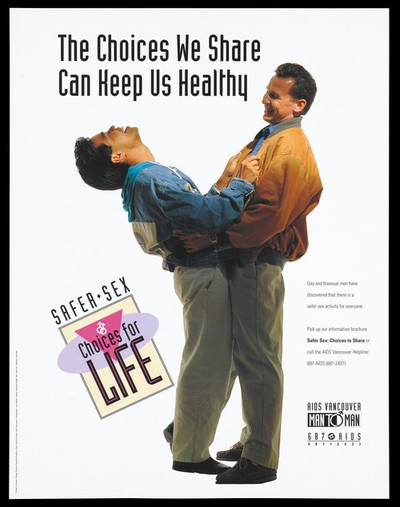 A man leans back laughing as he holds under another man; advertisement for an information brochure 'Safer Sex; choices for Life' for gay and bisexual men by AIDS Vancouver. Colour lithograph by Jane Weitzl.