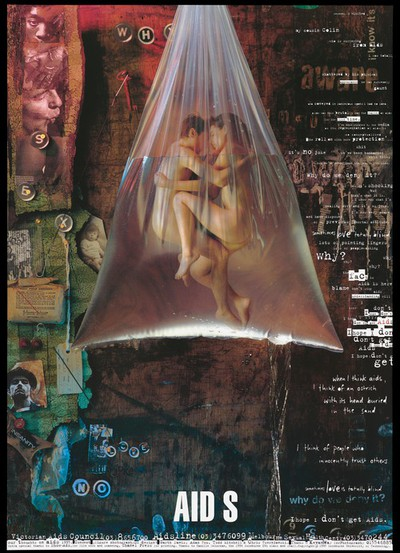 A couple caress within a bag full of water that is suspended against a collage of faces, labels and the lettering 'who', 'sex', 'love' and 'no'; representing an advertisement for safe sex helplines by Swinburne University of Technology, Australia. Colour lithograph by Kevan Way, 1995.