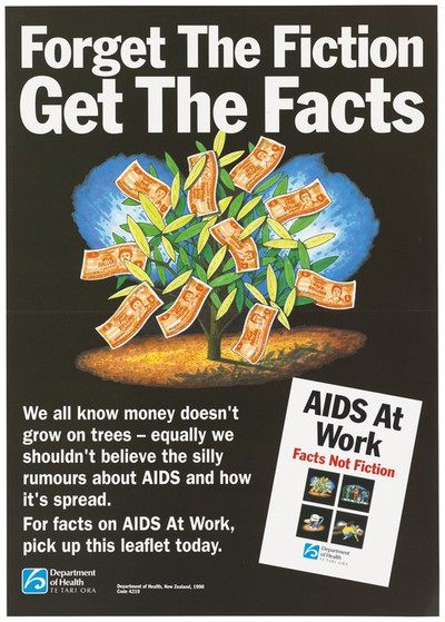 A tree with five dollar notes representing an advertisement for a leaflet on facts on AIDS at Work by the Department of Health, New Zealand. Colour lithograph, 1990.