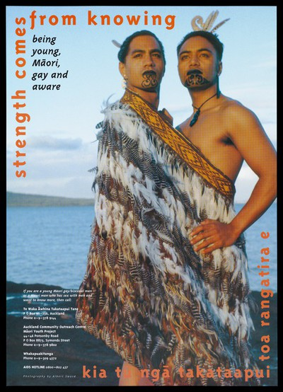 Two young M¯aori men standing with face decoration and a feather wrap against the backdrop of the sea representing an advertisement for AIDS helplines for M¯aori gay/bisexual men; advertisement by Te Waka ¯Awhina Takataapui Tane. Colour lithograph by Albert Sword.