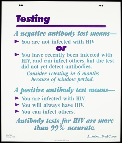 Explanation on how to test for HIV; thirtheenth of sixteen advertisement posters by the American Red Cross promoting education about AIDS. Colour lithograph, 1990.