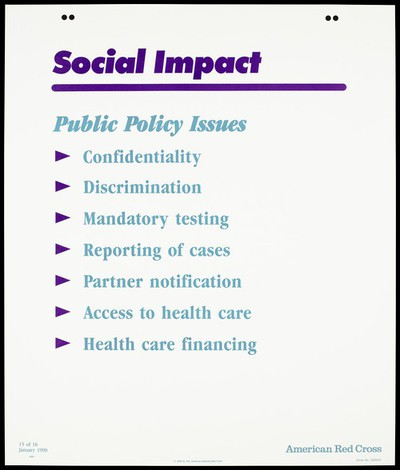 List of public policy issues relating to HIV; fifteenth of sixteen advertisement posters by the American Red Cross promoting education about AIDS. Colour lithograph, 1990.