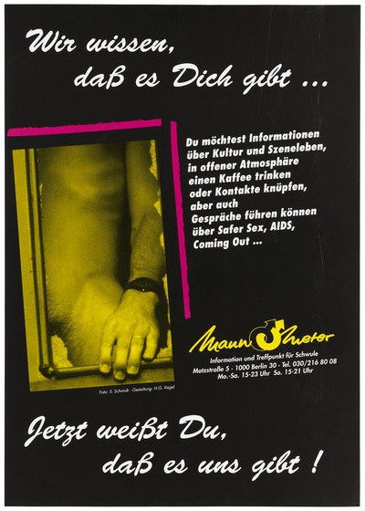 A naked man bearing one leg and part of his groin with one hand resting on a window frame representing an advertisment for safe sex services provided by Mannometer, the helpline for gay men in Germany to prevent AIDS. Colour lithograph by S. Schmidt and H.G. Kegel.