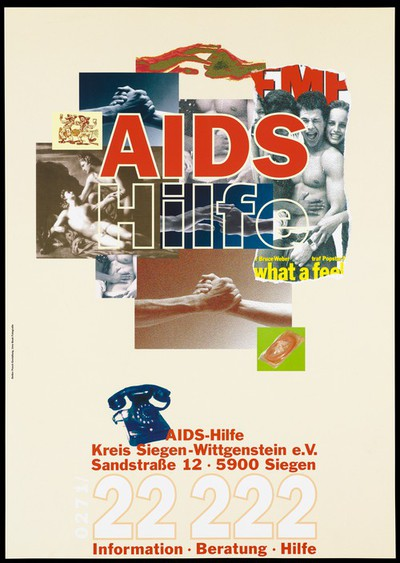 A collage of images: three versions of the same image showing hands joining, a love scene from a painting, a smaller and larger image of a man touching the chest of another, a group of young men and women smiling and a condom; an advertisement for the helpline of the AIDS-Hilfe Kreis Siegen-Wittgenstein e.V. Colour lithograph by Uwe Boek and Detlev Pusch.