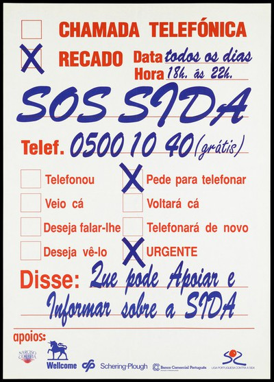 Advert for an SOS AIDS helpline
