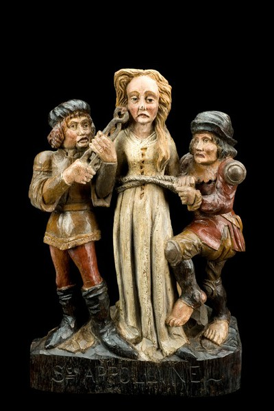Wooden statue of St Apollonia and two tormentors, Europe, 18