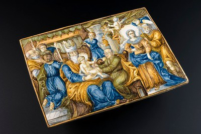 Tile illustrated with the circumcision of Jesus, Europe, 170